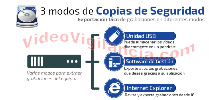 Copias de seguridad a pendrive ó a través de Internet.