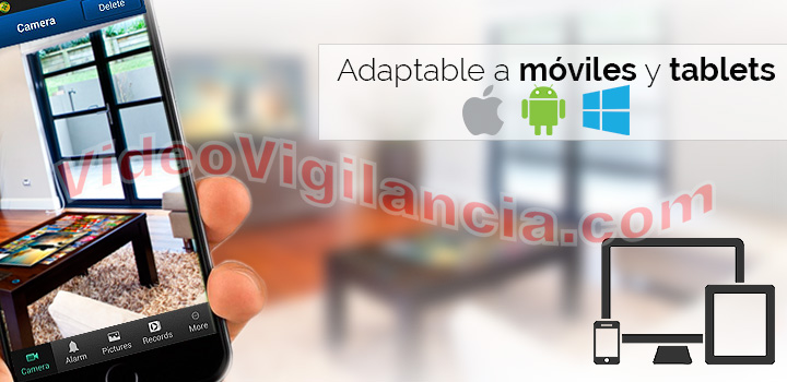 Kit videovigilancia IP Wifi compatible con móviles y tablets.