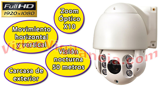 Cámara PTZ Full HD con zoom e IR.